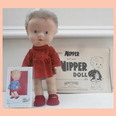 Rare Merrythought Nipper Cloth Doll, Book and Postcard