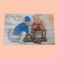 Early Postcard Girl with Lenci  Type Doll and Teddy 1934