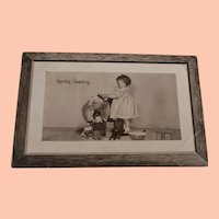 Early Postcard , Girl Washing Elephant with Toys and Black Doll 1910