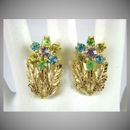 Script Coro Pastel Rhinestone Earrings ~ Mint!