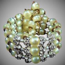 Phenomenal Moonglow Bead and Rhinestone Wrap Bracelet