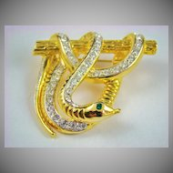 Designer Quality Rhinestone Hanging Snake Brooch