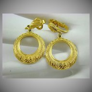Gold Tone Dangle Earrings signed Hedy