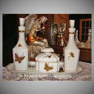 7-Piece Andrea by Sadek Art Deco Style Porcelain Vanity Set with Butterflies