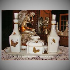 7-Piece Andrea by Sadek Art Deco Style Porcelain Vanity Set with Butterflies
