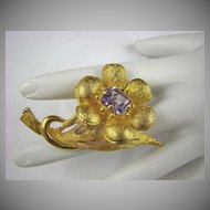 De Nicola Gold Tone and Amethyst Rhinestone Brooch
