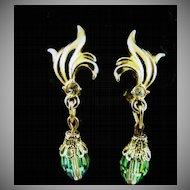 Green Aurora Borealis Dangle Earrings