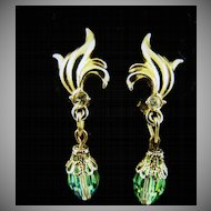 Green Aurora Borealis Dangle Earrings