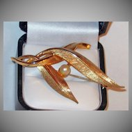 Classic Gold Plated Feather and Pearl Brooch signed Boucher