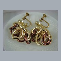 Eloxal Aluminum Gold Tone Dangle Earrings signed Germany