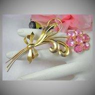 Art Deco Wilcox Sterling Pink Rhinestone Floral Brooch