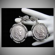 Napoleon Empereur Faux Coin Earrings