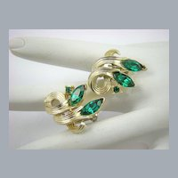 Emerald Rhinestone Earrings by Lisner