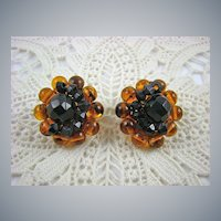 Signed Honey Amber Lucite and Black Bead Earrings