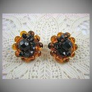 Signed Honey Amber Lucite and Black Bead Earrings