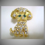 Gold Tone Puppy Brooch with Brilliant Chatons