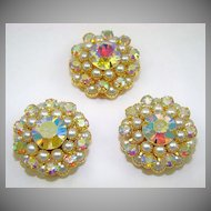 Stunning Imitation Pearl and Aurora Borealis Evening Buttons