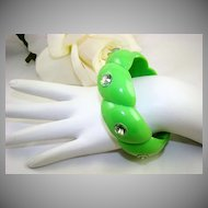 Apple Green Lucite Bangle with Aurora Borealis Rhinestones