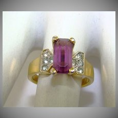 Emerald Cut Amethyst Colored Glass and Chaton Ring ~ 18K HGE