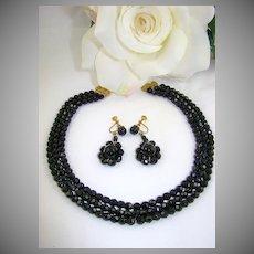 Elegant Black Glass  Demi Parure