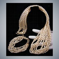 Classic Luxurious Imitation Freshwater Pearl Demi Parure