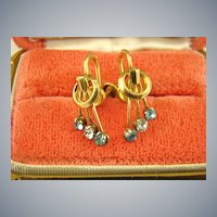 Art Deco 1/20 12Kt Gold Filled Chaton Earrings ~ Signed Record