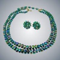 Rare Vogue Aurora Borealis Peacock Colored Glass Bead Demi Parure