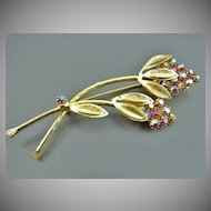 SALE Weiss Long Stemmed Floral Brooch ~ Aurora Borealis Red Chatons