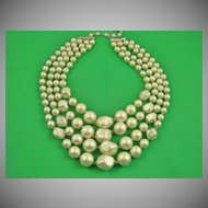 White Satin Imitation Pearl Necklace ~ Signed