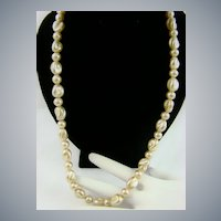 Lustrous Creamy Ivory Colored Baroque Imitation Pearl Necklace