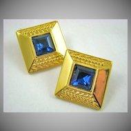 Sapphire Colored Crystal Dinner Earrings