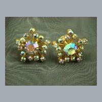 Glamourous 1950s Aurora Borealis Rhinestone Earrings ~Atomic