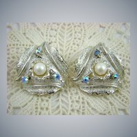 Judy Lee Imitation Pearl and Aurora Borealis Rhinestone Earrings