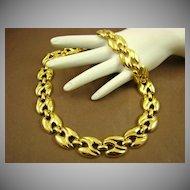 Polished Gold Tone Link Necklace