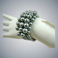 Memory Wire Imitation Black Pearl Cuff Bracelet