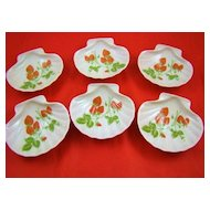 Six Vintage Limoges Strawberry Shell Bowls