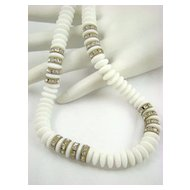 Made in Austria Milk Glass and Rhinestone Rondelle Necklace