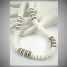 Made in Austria Milk Glass and Rhinestone Rondelle Necklace
