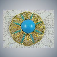 Germany Eloxal Brooch with Teal Enamel