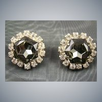Black Diamond Rhinestone Evening Earrings