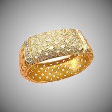 Pristine Swarovski Crystal SAL Wide Basketweave Bangle