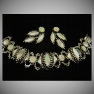 Phenomenal Mother of Pearl Renaissance Style Bookchain Bracelet and Earrings