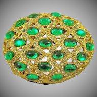 Art Deco Style Emerald Glass & Rhinestone Brooch by Bellini