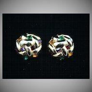 Polished Gold Tone and Gemstone Color Rhinestone Earrings