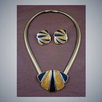 Classic Trifari Gold Colored and Black Enamel Demi Parure