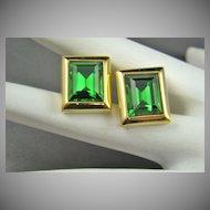 Older Swarovski Emerald Crystal Earrings