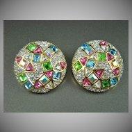 "Sparkling Rhinestone ""Confetti"" Style Evening Earrings"