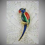 Giovanni Enamel Parrot Brooch