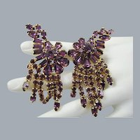 Ann-Vien Rare Exquisite Amethyst Rhinestone Runway Earrings