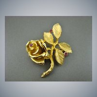 1940's Crown Ciro Gold Plated Rose Brooch with Pink Cubic Zirconia